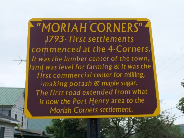"""Moriah Corners"" sign"