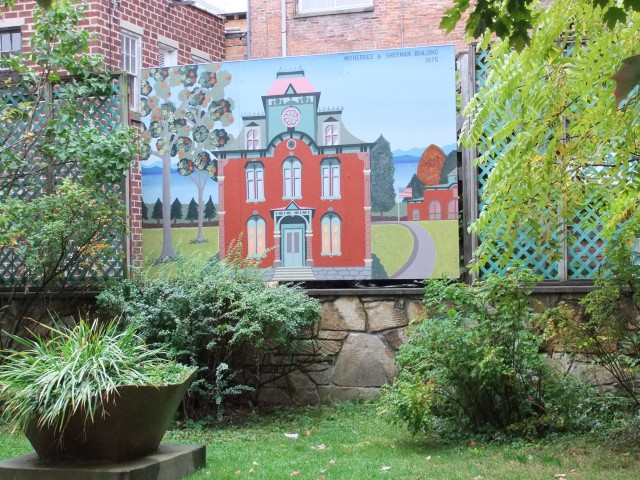 Witherbee Sherman Bldg Mural in downtown park