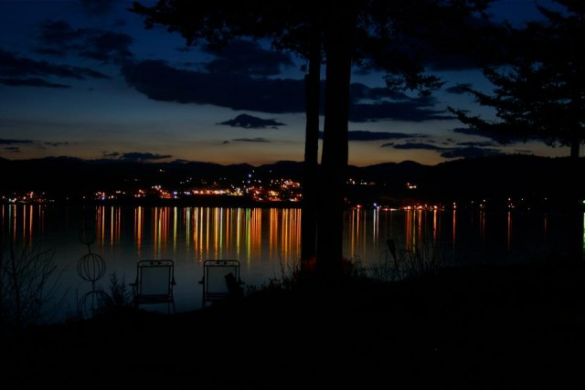 Port Henry at night, viewed from across the lake