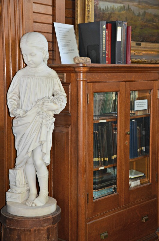Statue inside Sherman Free Library